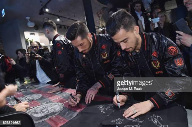 Jose Ernesto Sosa and Jesus Joaquin Fernandez Saez de la Torre signs autographs at The New Bomber Presentation at the Diesel Store on March 14 2017...