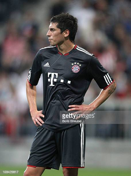 Jose Ernesto Sosa of Bayern gestures during the Franz Beckenbauer Farewell match between FC Bayern Muenchen and Real Madrid at Allianz Arena on...