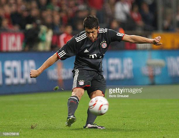 Jose Ernesto Sosa of Bayern kicks the ball during the Franz Beckenbauer Farewell match between FC Bayern Muenchen and Real Madrid at Allianz Arena on...