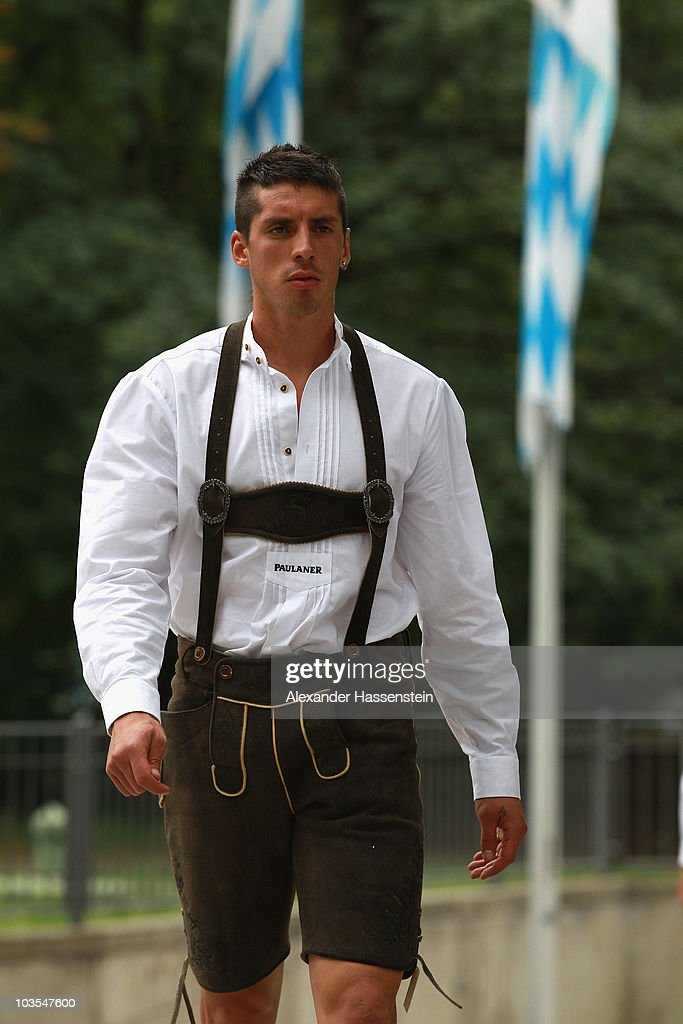 Jose Ernesto Sosa of Bayern Muenchen arrives for the Paulaner photocall at the Nockerberg Biergarden on August 23 2010 in Munich Germany