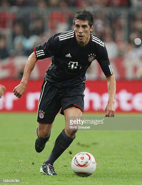Jose Ernesto Sosa of Bayern runs with the ball during the Franz Beckenbauer Farewell match between FC Bayern Muenchen and Real Madrid at Allianz...