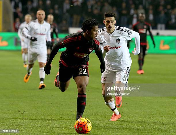Jose Ernesto Sosa of Besiktas in action against Lma Pacheco of Gaziantepspor during Super Toto Super League football match between Besiktas and...