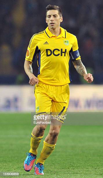 Jose Ernesto Sosa of FC Metalist Kharkiv in action during the UEFA Europa League group stage match between FC Metalist Kharkiv and SK Rapid Wien held...
