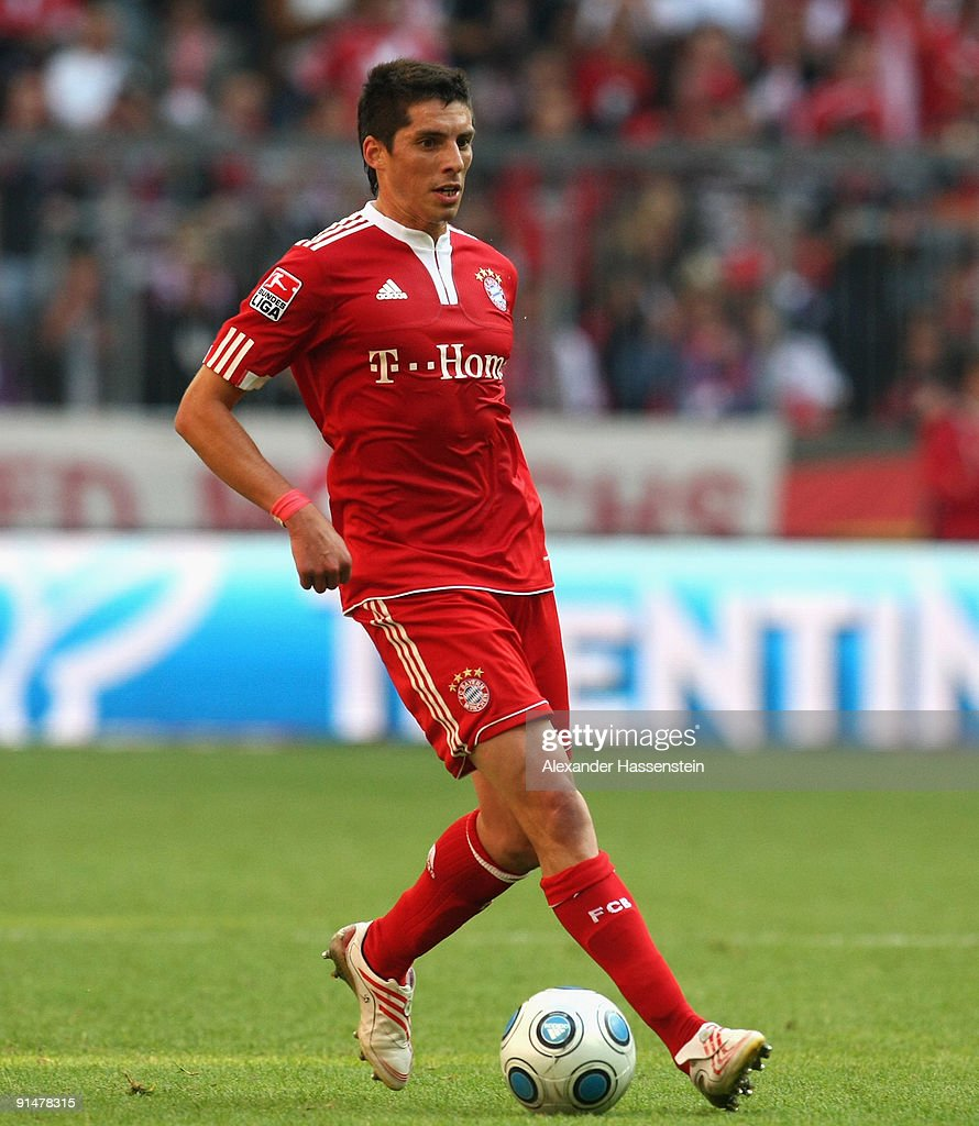 Jose Ernesto Sosa of Muenchen runs with the ball during the Bundesliga match between FC Bayern Muenchen and 1 FC Koeln at Allianz Arena on October 3...