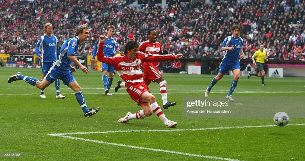 Jose Ernesto Sosa of Muenchen scores the first goal during the Bundesliga match between FC Bayern Muenchen and Karlsruher SC at the Allianz Arena on...