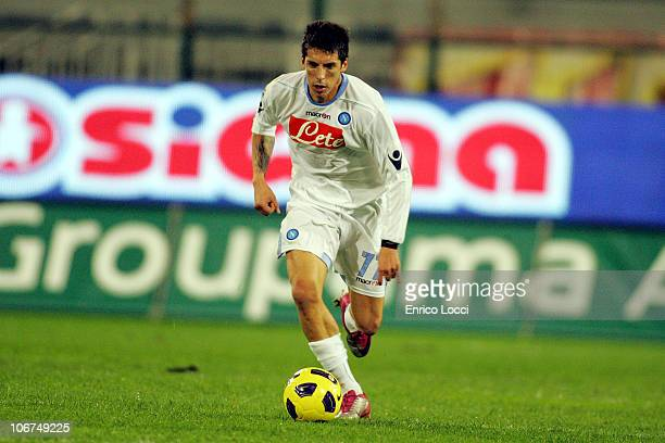 Jose Ernesto Sosa of Napoli in action during the Serie A match between Cagliari and Napoli at Stadio Sant'Elia on November 10 2010 in Cagliari Italy