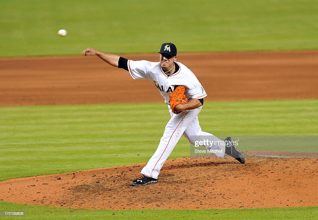 Jose Fernandez #16 of the Miami Marlins delivers a pitch against the San Diego Padres during the sixth inning at Marlins Park on July 1, 2013 in Miami, Florida.