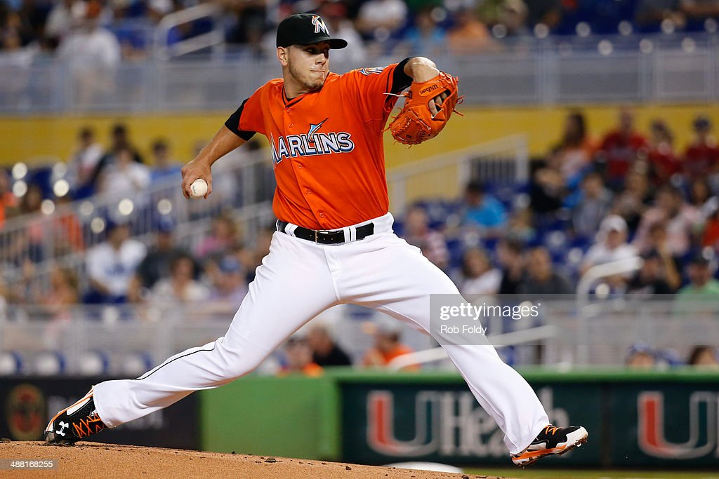 Jose Fernandez of the Miami Marlins delivers a pitch during the first inning of the game against the Los Angeles Dodgers at Marlins Park on May 04...