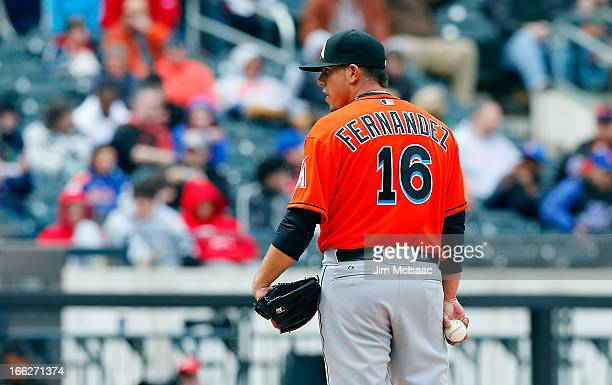 Jose Fernandez of the Miami Marlins in action against the New York Mets at Citi Field on April 7 2012 in the Flushing neighborhood of the Queens...