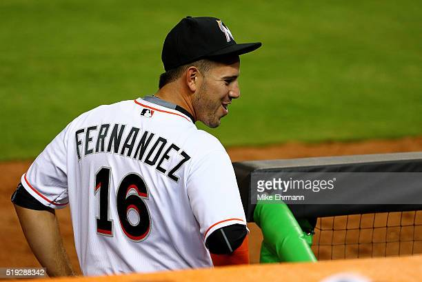 Jose Fernandez of the Miami Marlins looks on during 2016 Opening Day against the Detroit Tigers at Marlins Park on April 5 2016 in Miami Florida