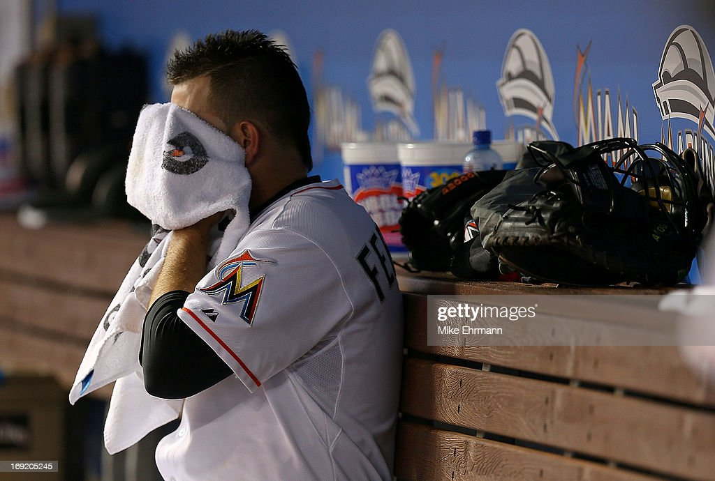 Jose Fernandez #16 of the Miami Marlins looks on during a game against the Philadelphia Phillies at Marlins Park on May 21, 2013 in Miami, Florida.