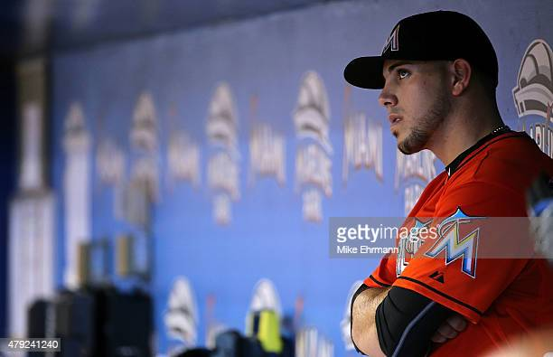 Jose Fernandez of the Miami Marlins looks on during a game against the San Francisco Giants at Marlins Park on July 2 2015 in Miami Florida