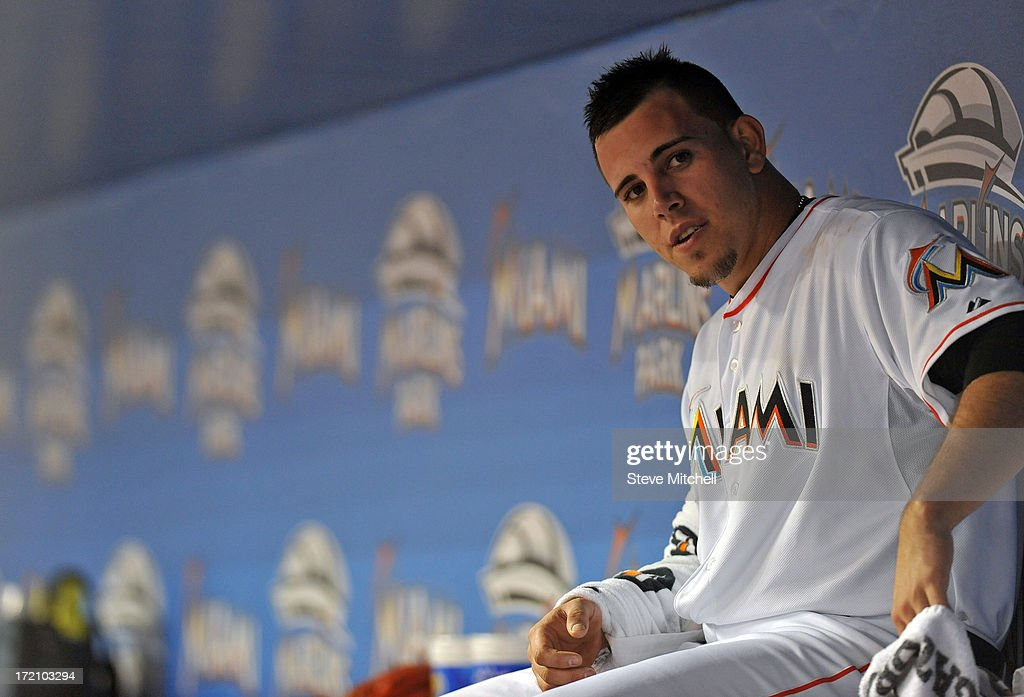 Jose Fernandez #16 of the Miami Marlins looks on from the dugout during the first inning against the San Diego Padres at Marlins Park on July 1, 2013 in Miami, Florida.