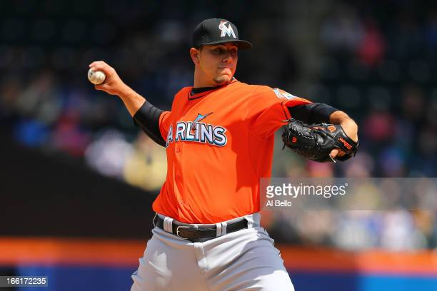 Jose Fernandez of the Miami Marlins pitches against the New York Mets during their game on April 7 2013 at Citi Field in the Flushing neighborhood of...