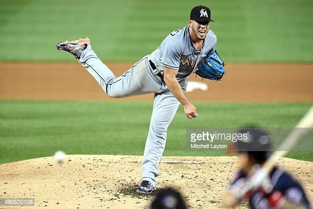 Jose Fernandez of the Miami Marlins pitches during a baseball game against the Washington Nationals at Nationals Park on September 18 2015 in...