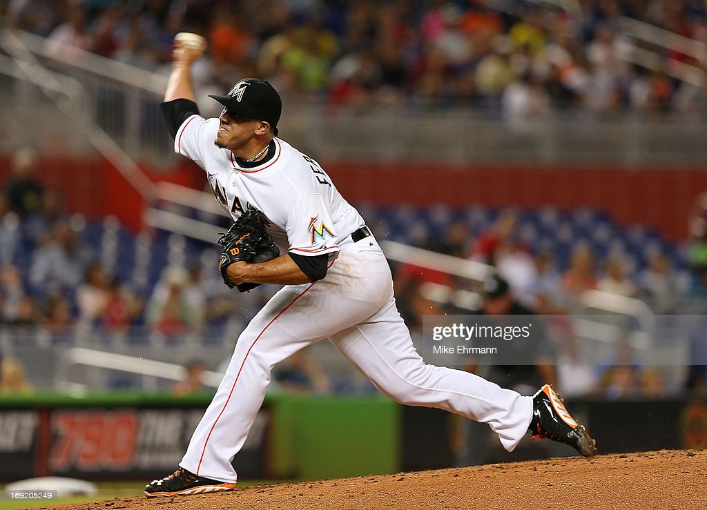 Jose Fernandez #16 of the Miami Marlins pitches during a game against the Philadelphia Phillies at Marlins Park on May 21, 2013 in Miami, Florida.