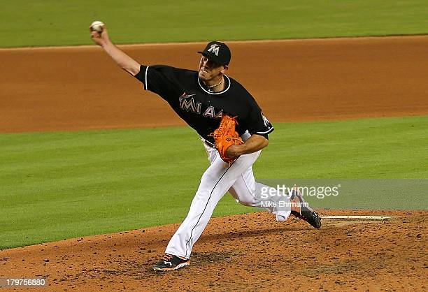 Jose Fernandez of the Miami Marlins pitches during a game against the Washington Nationals at Marlins Park on September 6 2013 in Miami Florida