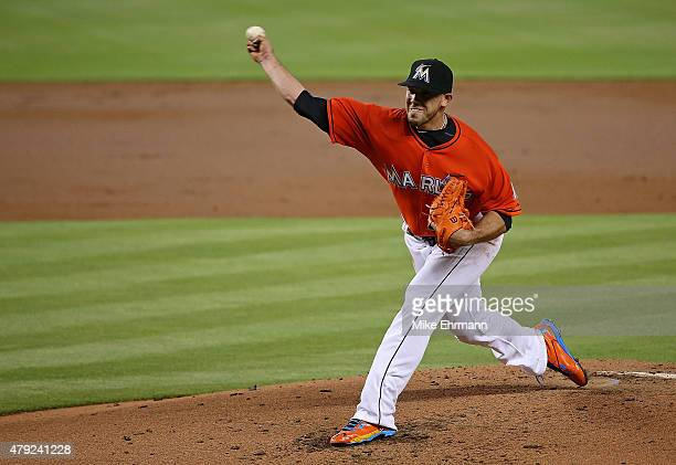 Jose Fernandez of the Miami Marlins pitches during a game against the San Francisco Giants at Marlins Park on July 2 2015 in Miami Florida