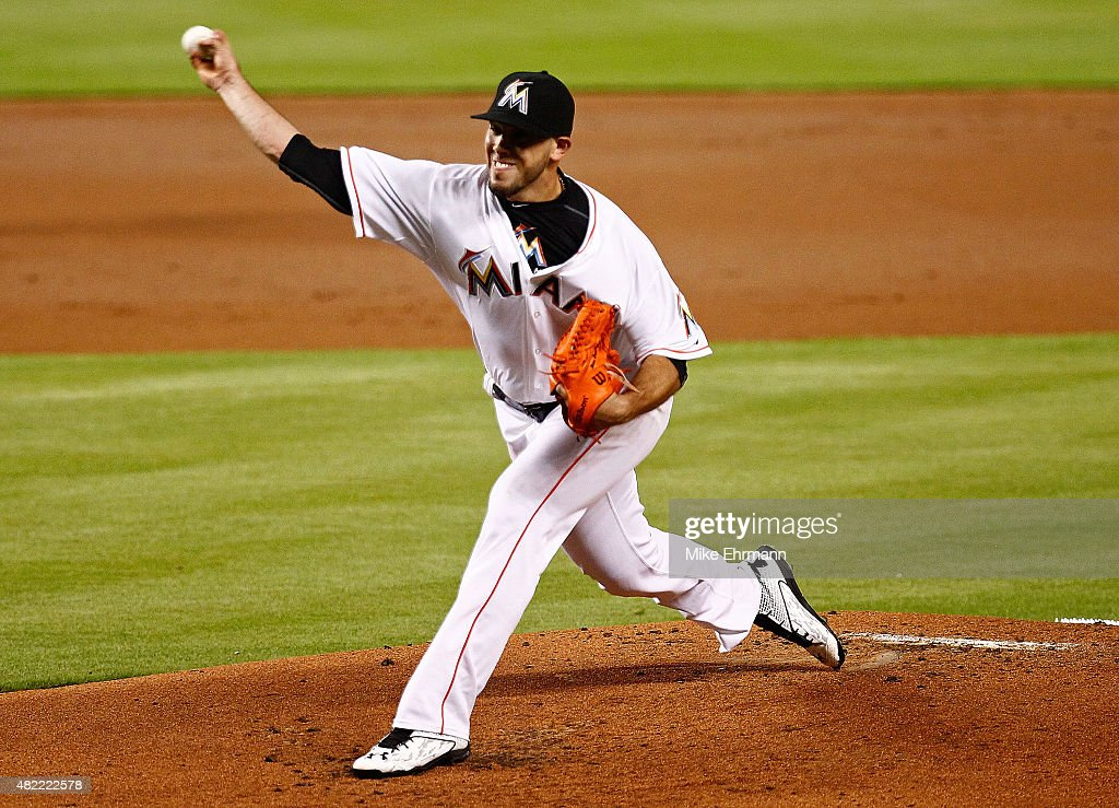 Jose Fernandez of the Miami Marlins pitches during a game against the Washington Nationals at Marlins Park on July 28 2015 in Miami Florida