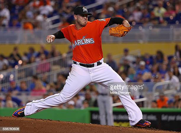 Jose Fernandez of the Miami Marlins pitches during a game against the New York Mets at Marlins Park on June 5 2016 in Miami Florida