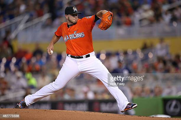 Jose Fernandez of the Miami Marlins pitches during the first inning of the game against the San Diego Padres at Marlins Park on August 2 2015 in...