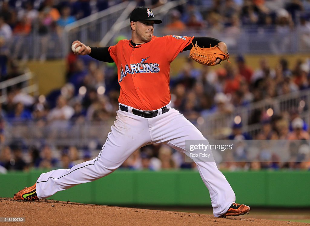 Jose Fernandez #16 of the Miami Marlins pitches during the first inning of the game against the Chicago Cubs at Marlins Park on June 26, 2016 in Miami, Florida.