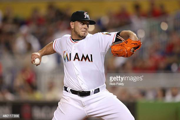 Jose Fernandez of the Miami Marlins pitches during the game against the Cincinnati Reds at Marlins Park on July 9 2015 in Miami Florida