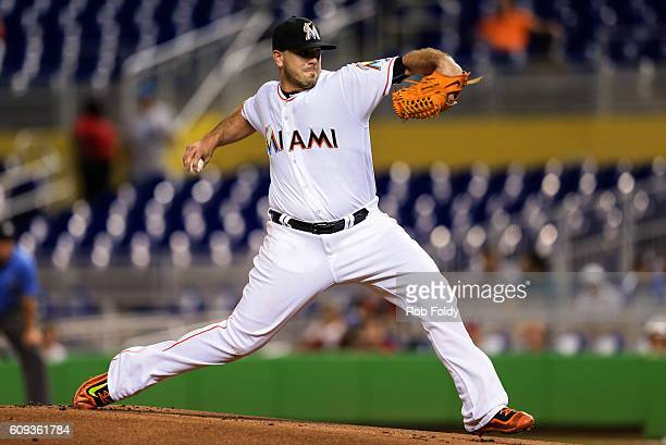 Jose Fernandez of the Miami Marlins pitches during the game against the Washington Nationals at Marlins Park on September 20 2016 in Miami Florida