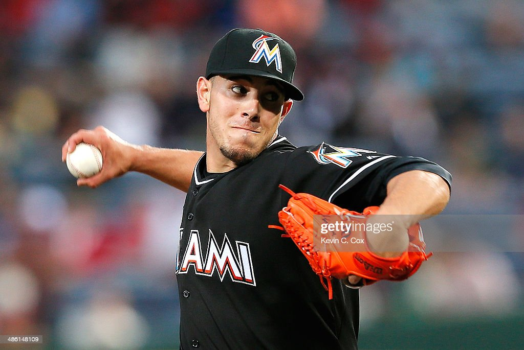 Jose Fernandez of the Miami Marlins pitches in the fourth inning to the Atlanta Braves at Turner Field on April 22 2014 in Atlanta Georgia