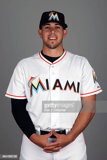 Jose Fernandez of the Miami Marlins poses during Photo Day on Wednesday February 25 2015 at Roger Dean Stadium in Jupiter Florida