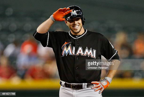 Jose Fernandez of the Miami Marlins reacts at second base after hitting a RBI double against the Arizona Diamondbacks during the second inning of the...