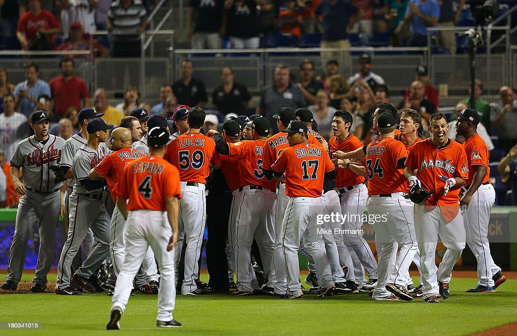 Atlanta Braves V Miami Marlins Jose Fernandez 16 Of The Reacts To A Fight After He Hit