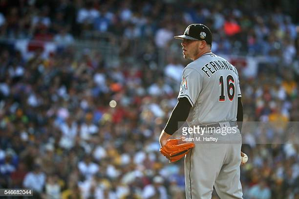 Jose Fernandez of the Miami Marlins stands on the pitcher's mound during the 87th Annual MLB AllStar Game at PETCO Park on July 12 2016 in San Diego...