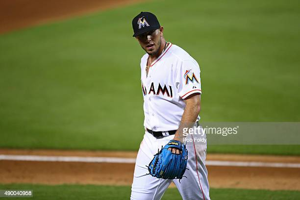 Jose Fernandez of the Miami Marlins walks off the field during the game at Marlins Park on September 25 2015 in Miami Florida Fernandez is trying to...