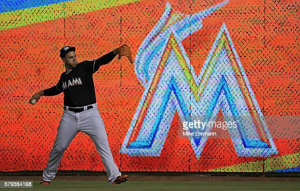 Jose Fernandez of the Miami Marlins warms up during a game against the New York Mets at Marlins Park on July 23 2016 in Miami Florida