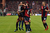 Jose Figueras of Genoa CFC celebrates after scoring the opening goal with team mates during the Serie A match between Genoa CFC and Carpi FC at...