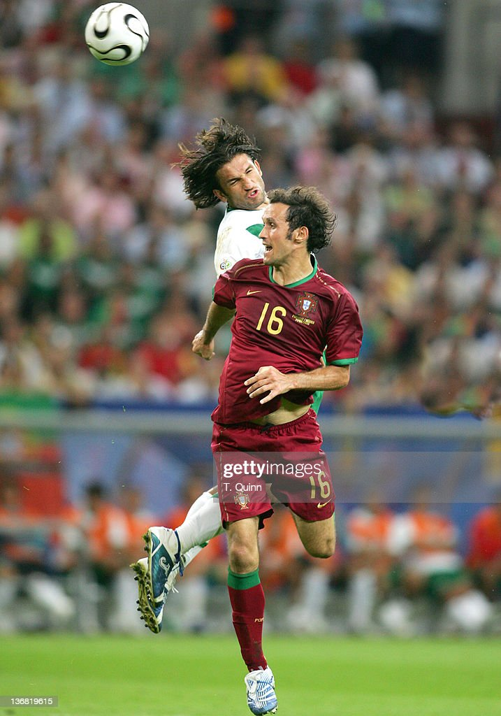 Jose Fonseca beats Ricardo Carvalho to a header during the Group D match between Portugal and Mexico at FIFA World Cup stadium Gelsenkirchen, Germany on June 21, 2006. Portugal beat Mexico 2-1.