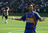Jose Fonseca of Tigres UANL reacts during the World Series of Football match against the Suwon Samsung Bluewings at the Home Depot Center on July 21...