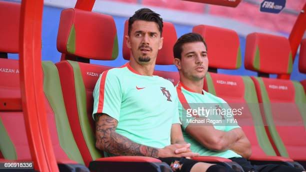 Jose Fonte and Cedric Soares look on during the Portugal Training and Press Conference on June 17 2017 in Kazan Russia
