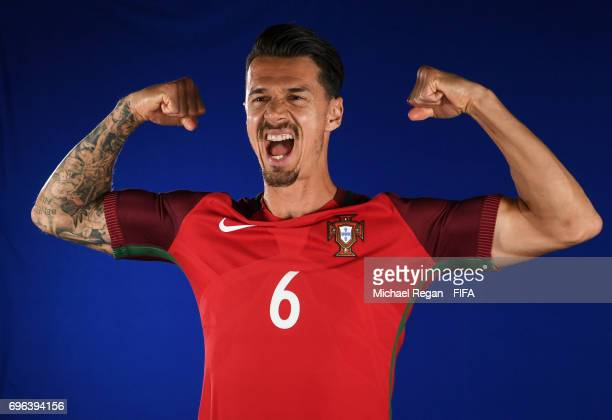 Jose Fonte is filmed during the Portugal team portrait session on June 15 2017 in Kazan Russia