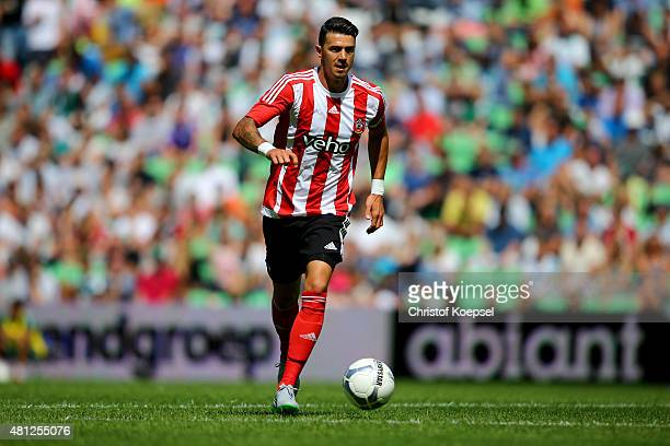 Jose Fonte of FC Southampton runs with the ball during the friendly match between FC Groningen and FC Southampton at Euroborg Arena on July 18 2015...
