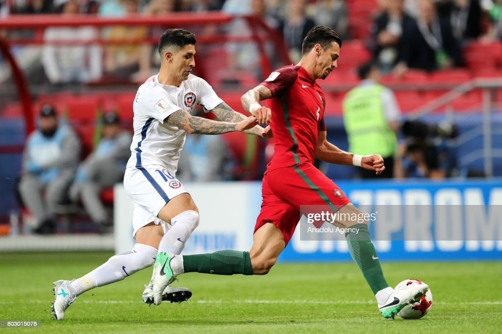 Jose Fonte (R) of Portugal in action against Pablo Hernandez (L) of Chile during the FIFA Confederations Cup 2017 Semi-final soccer match between Portugal and Chile at 'Kazan-Arena' stadium in Kazan, Russia on June 28, 2017.