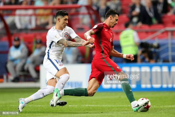 Jose Fonte of Portugal in action against Pablo Hernandez of Chile during the FIFA Confederations Cup 2017 Semifinal soccer match between Portugal and...