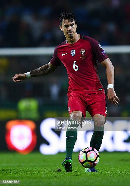 Jose Fonte of Portugal runs with the ball during the FIFA 2018 World Cup Qualifier between Portugal and Andorra at Estadio Municipal de Aveiro on...
