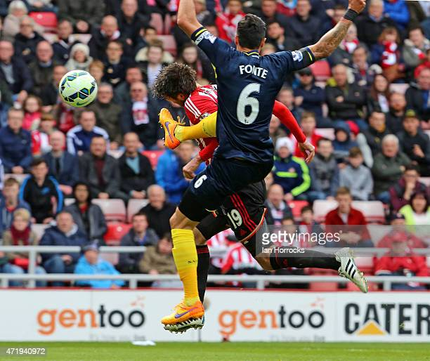 Jose Fonte of Southampton brings down Danny Graham of Sunderland leading to a penaly during the Barclays Premier League match between Sunderland AFC...