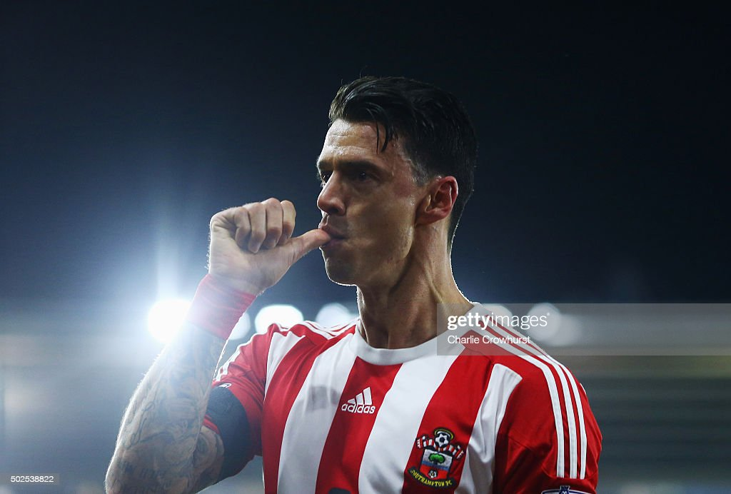 Jose Fonte of Southampton celebrates as he scores their third goal during the Barclays Premier League match between Southampton and Arsenal at St Mary's Stadium on December 26, 2015 in Southampton, England.