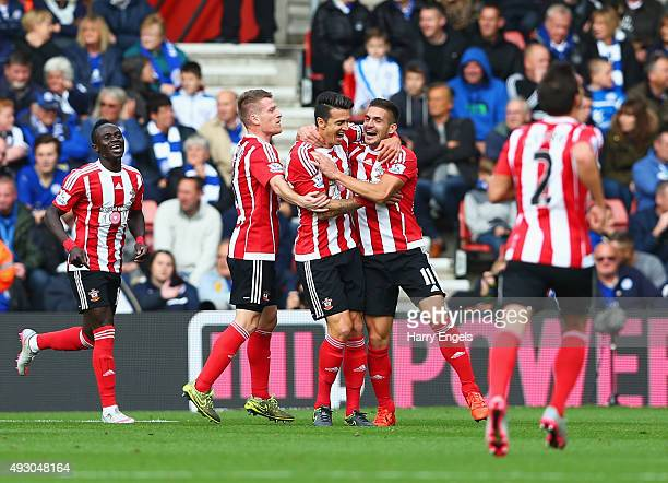 Jose Fonte of Southampton celebrates scoring his team's first goal with his team mates during the Barclays Premier League match between Southampton...
