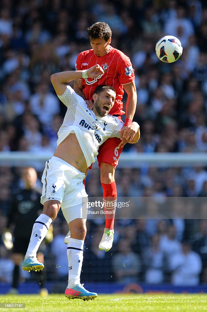 Jose Fonte of Southampton climbs above <a gi-track='captionPersonalityLinkClicked' href=/galleries/search?phrase=Clint+Dempsey&family=editorial&specificpeople=547866 ng-click='$event.stopPropagation()'>Clint Dempsey</a> of Tottenham Hotspur to head the ball during the Barclays Premier League match between Tottenham Hotspur and Southampton at White Hart Lane on May 4, 2013 in London, England.