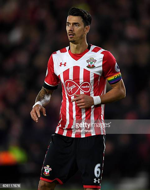 Jose Fonte of Southampton in action during the Premier League match between Southampton and Everton at St Mary's Stadium on November 27 2016 in...