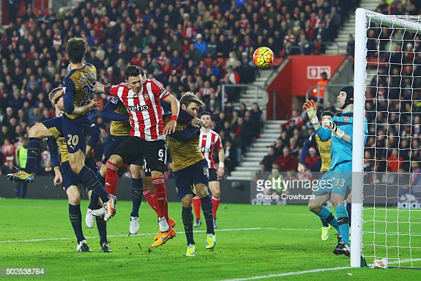 Jose Fonte of Southampton scores their third goal past goalkeeper Petr Cech of Arsenal during the Barclays Premier League match between Southampton...